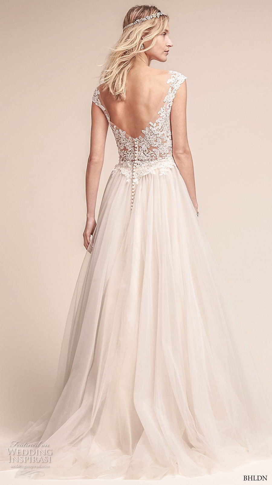 bhldn fall 2017  americana bridal cap sleeves illusion bateau neck sweetheart neckline heavily embellished bodice tulle skirt romantic a  line wedding dress open scoop back sweep train (carly) bv