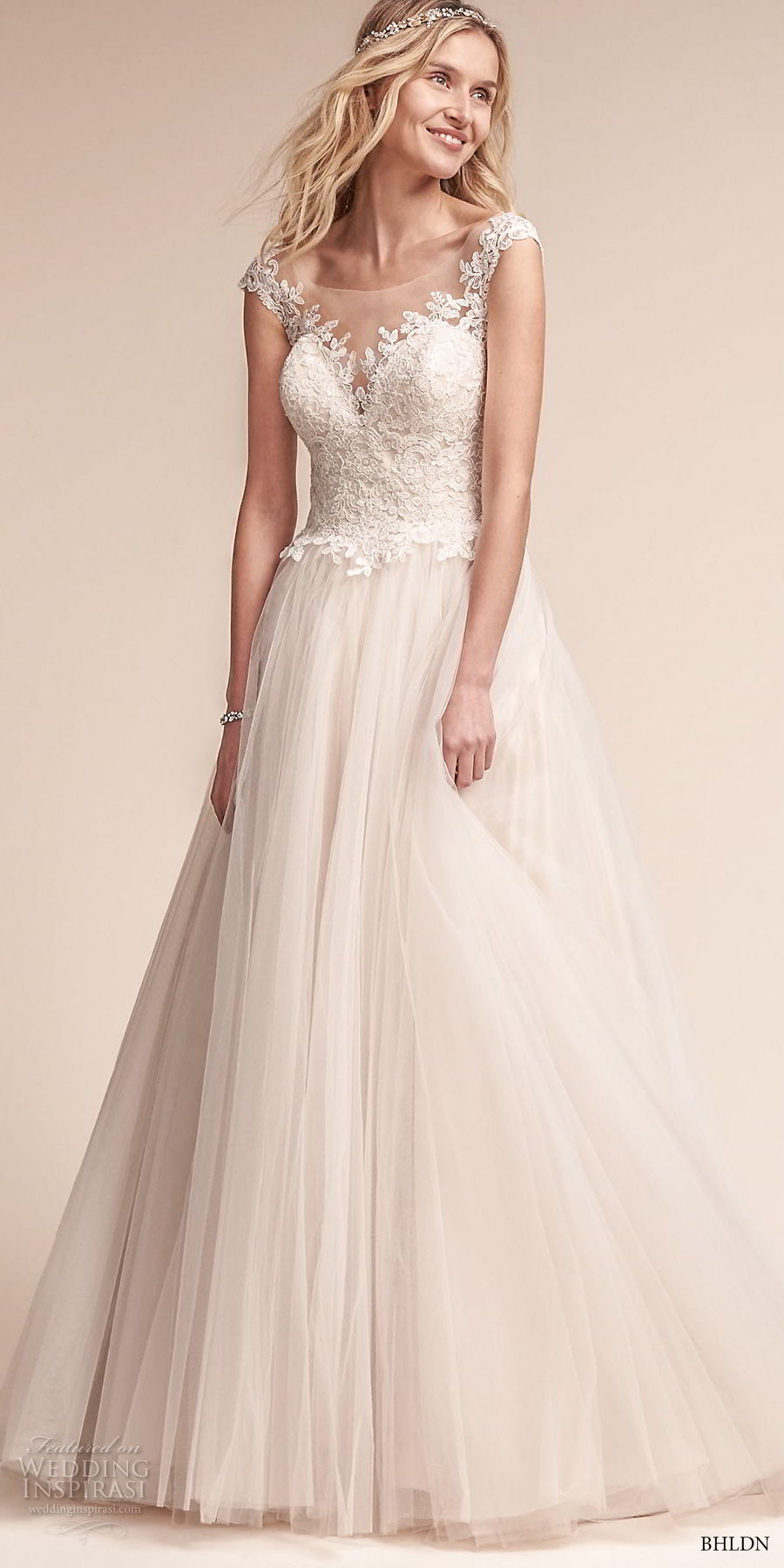 bhldn fall 2017  americana bridal cap sleeves illusion bateau neck sweetheart neckline heavily embellished bodice tulle skirt romantic a  line wedding dress open scoop back sweep train (carly) mv
