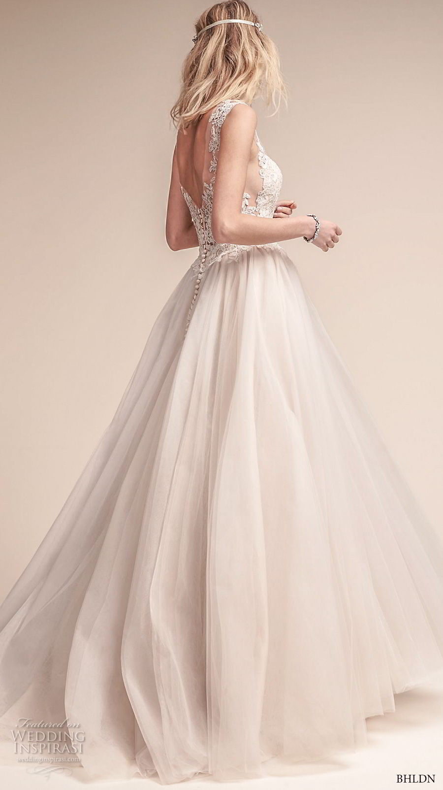bhldn fall 2017  americana bridal cap sleeves illusion bateau neck sweetheart neckline heavily embellished bodice tulle skirt romantic a  line wedding dress open scoop back sweep train (carly) sdv