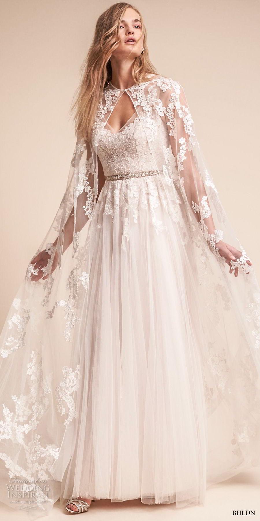 bhldn fall 2017  americana bridal floor length lace sheer wedding cape (anastasia) mv