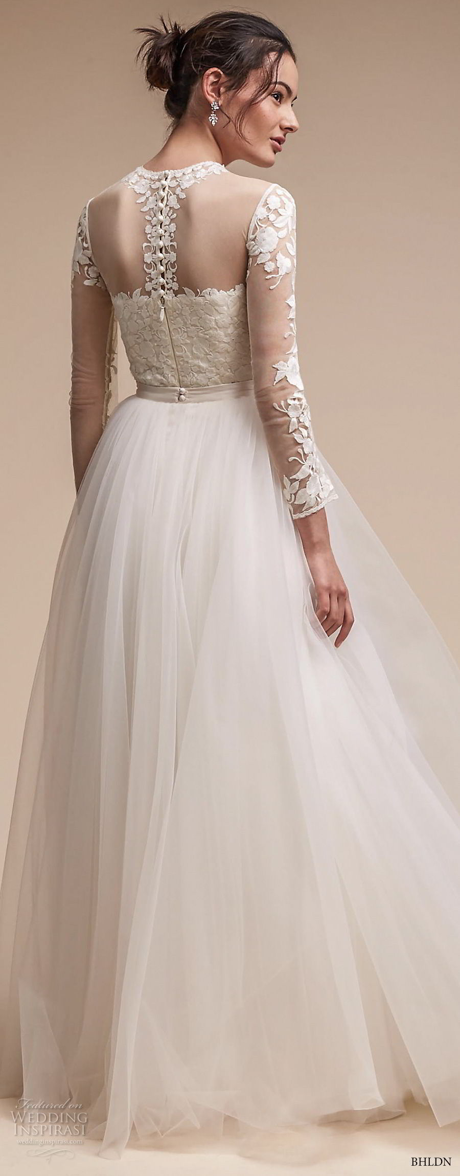 bhldn fall 2017  americana bridal long sleeves illusion jewel sweetheart neck heavily embellished bodice tulle skirt romantic soft a  line wedding dress sheer lace back sweep train (jessica) bv