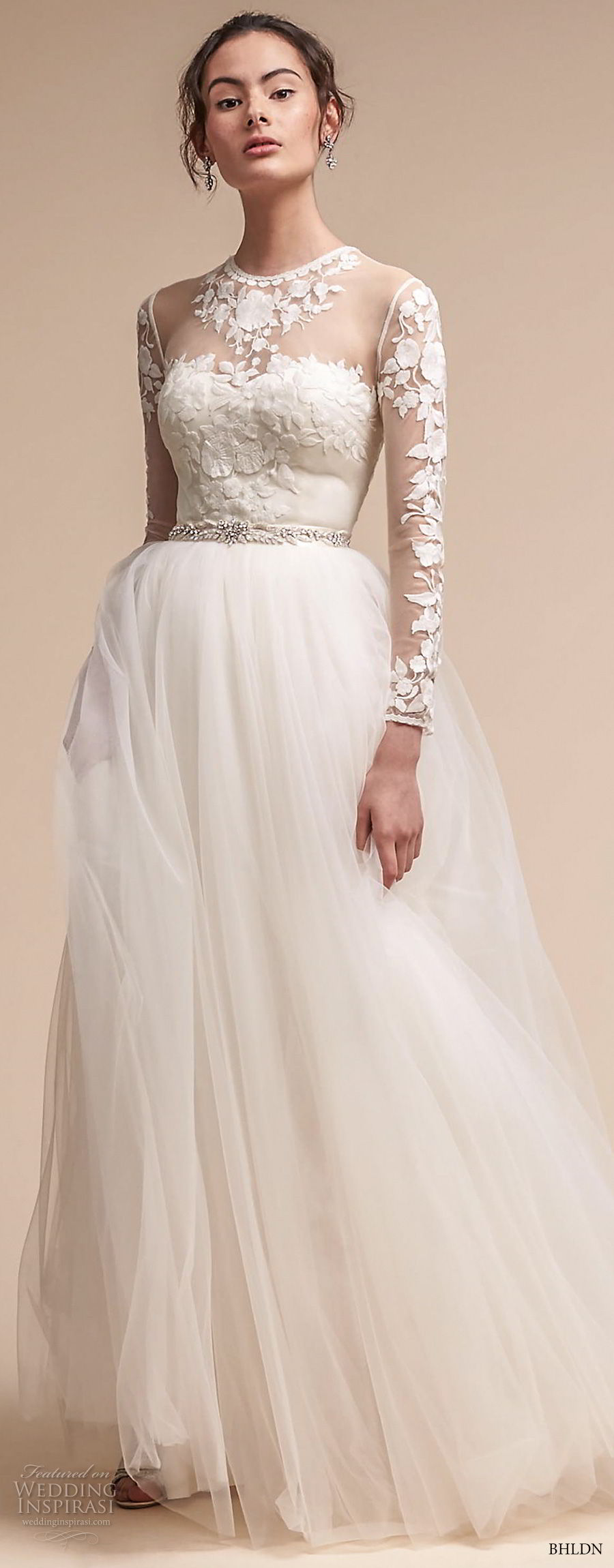 bhldn fall 2017  americana bridal long sleeves illusion jewel sweetheart neck heavily embellished bodice tulle skirt romantic soft a  line wedding dress sheer lace back sweep train (jessica) mv