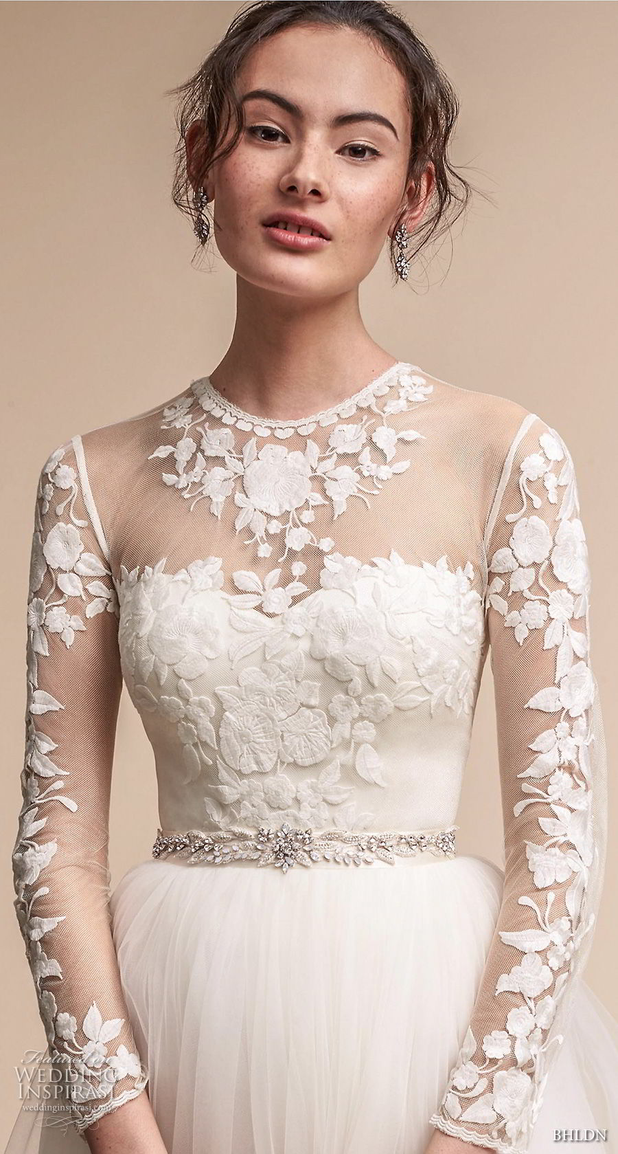 bhldn fall 2017  americana bridal long sleeves illusion jewel sweetheart neck heavily embellished bodice tulle skirt romantic soft a  line wedding dress sheer lace back sweep train (jessica) zv