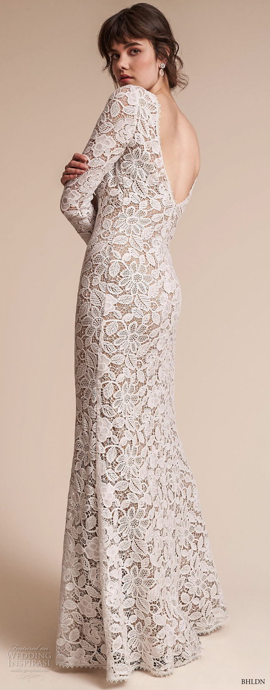 bhldn fall 2017  americana bridal long sleeves jewel neck full embellishment elegant lace modified a  line wedding dress  open v back sweep train (medallion) bv