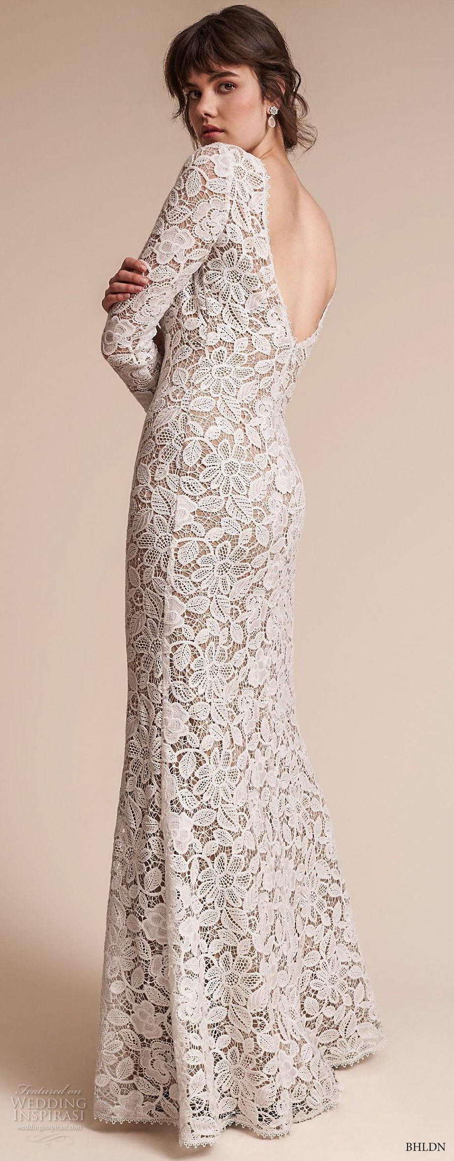 bhldn fall 2017  americana bridal long sleeves jewel neck full embellishment elegant lace modified a  line wedding dress  open v back sweep train (medallion) bv