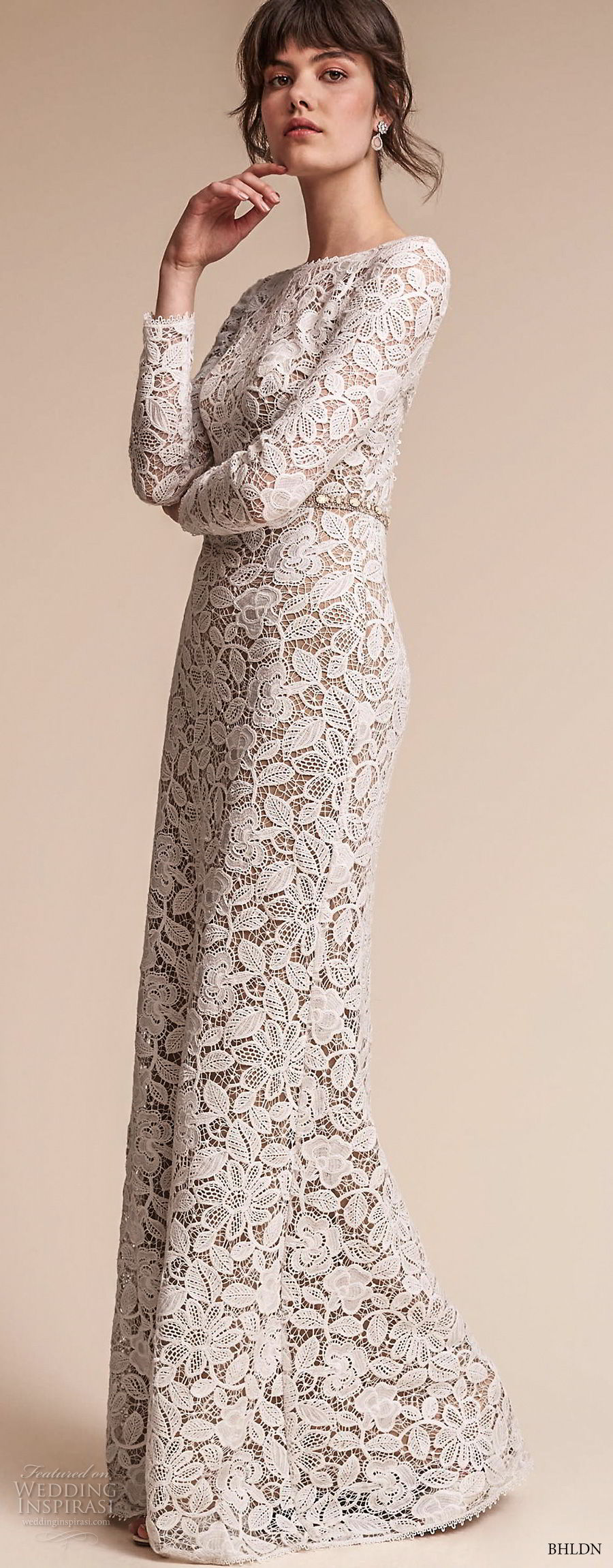 bhldn fall 2017  americana bridal long sleeves jewel neck full embellishment elegant lace modified a  line wedding dress  open v back sweep train (medallion) lv