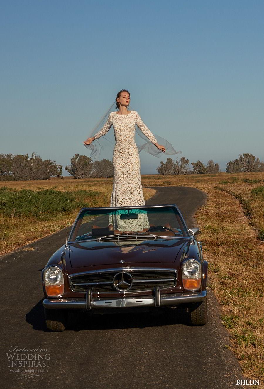 bhldn fall 2017  americana bridal long sleeves jewel neck full embellishment elegant lace modified a  line wedding dress  open v back sweep train (medallion) mv