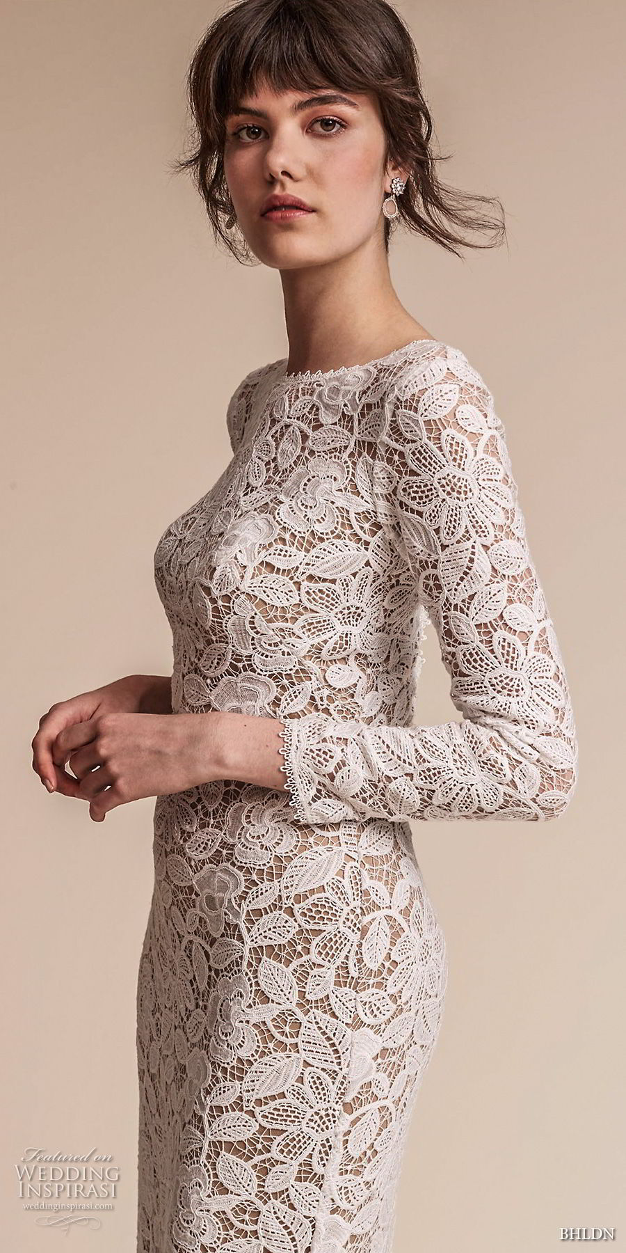bhldn fall 2017  americana bridal long sleeves jewel neck full embellishment elegant lace modified a  line wedding dress  open v back sweep train (medallion) zv