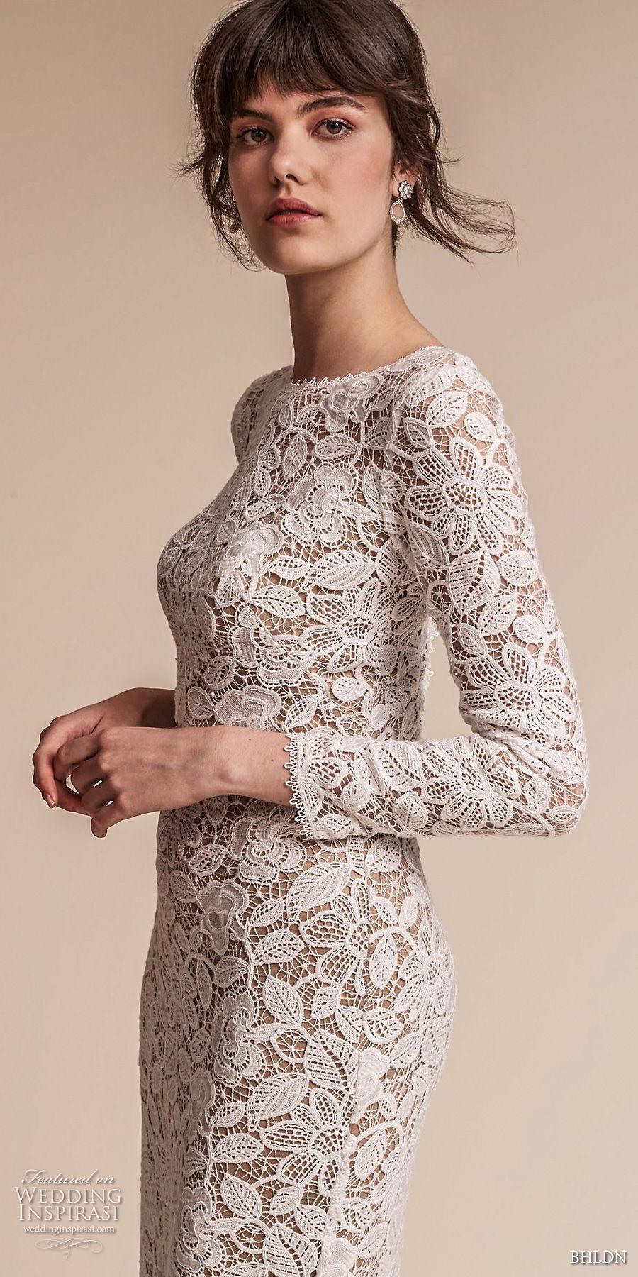 bhldn fall 2017  americana bridal long sleeves jewel neck full embellishment elegant lace modified a  line wedding dress  open v back sweep train (medallion) zv