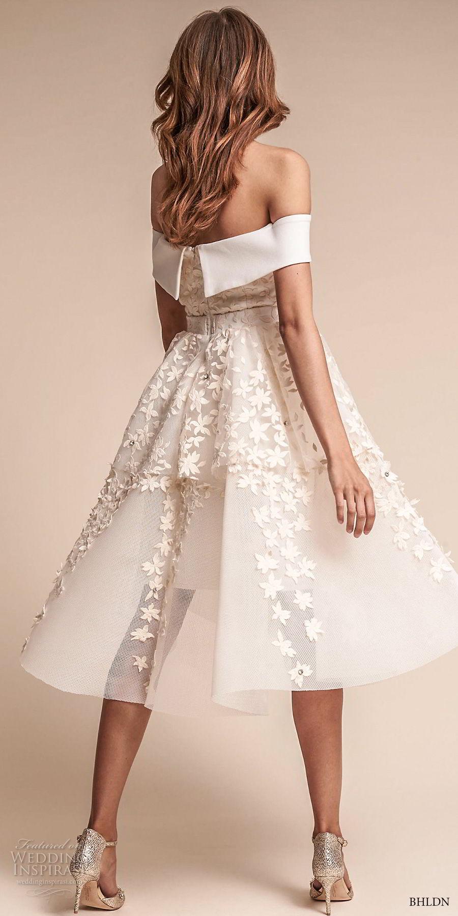 bhldn fall 2017  americana bridal off the shoulder sweetheart neckline full embellishment romantic pretty above knee short wedding dress (emerson) bv