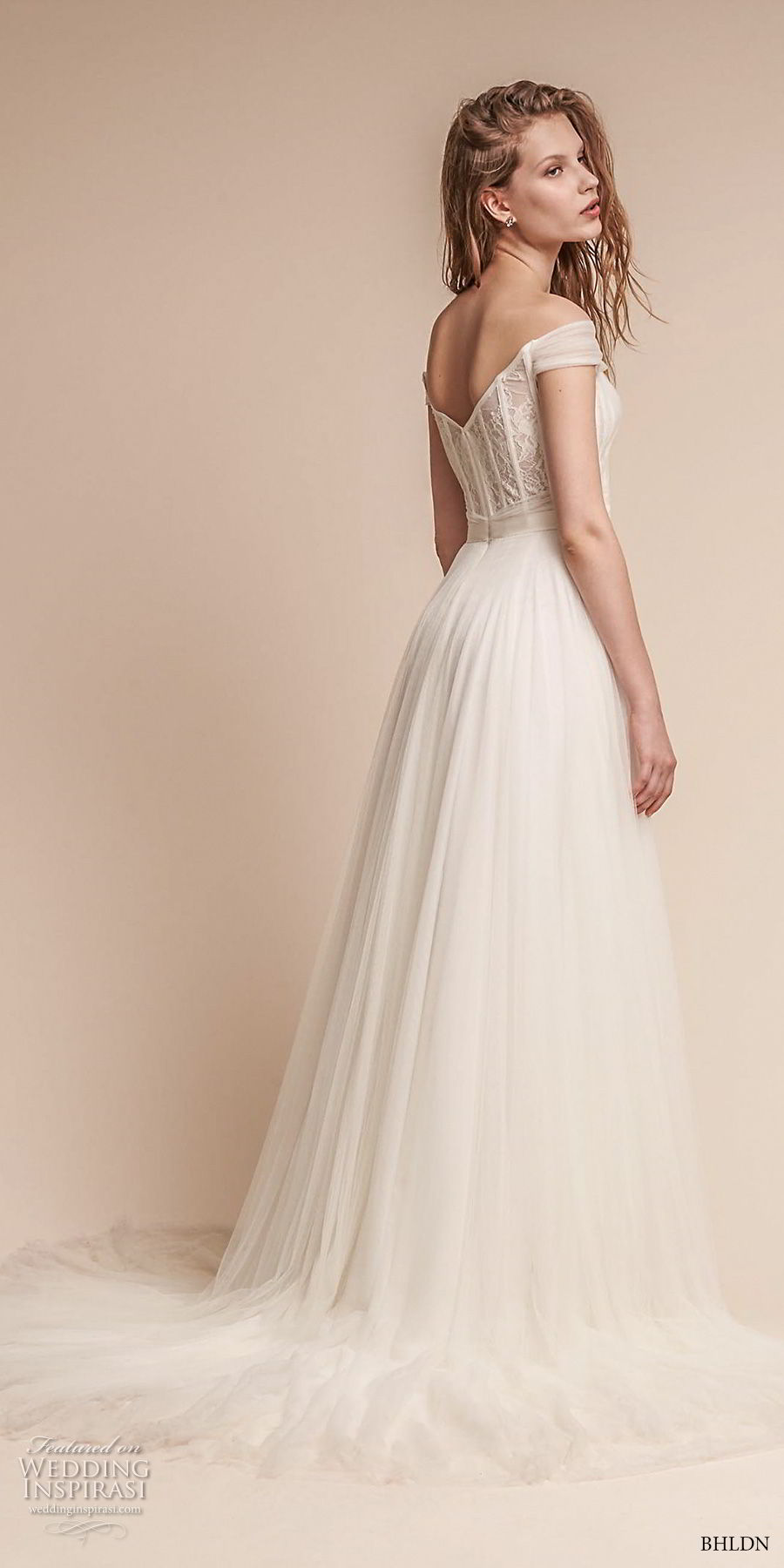 bhldn fall 2017  americana bridal off the shoulder sweetheart neckline ruched bodice tulle skirt romantic soft a  line wedding dress mid v back medium train (heaton) bv
