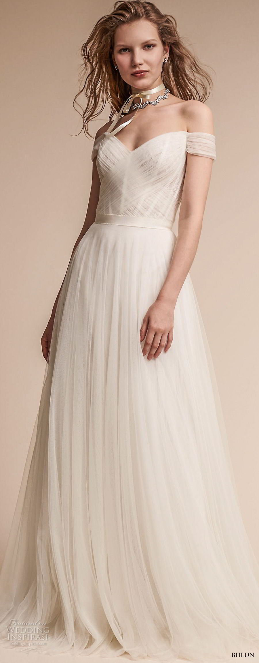 bhldn fall 2017  americana bridal off the shoulder sweetheart neckline ruched bodice tulle skirt romantic soft a  line wedding dress mid v back medium train (heaton) mv