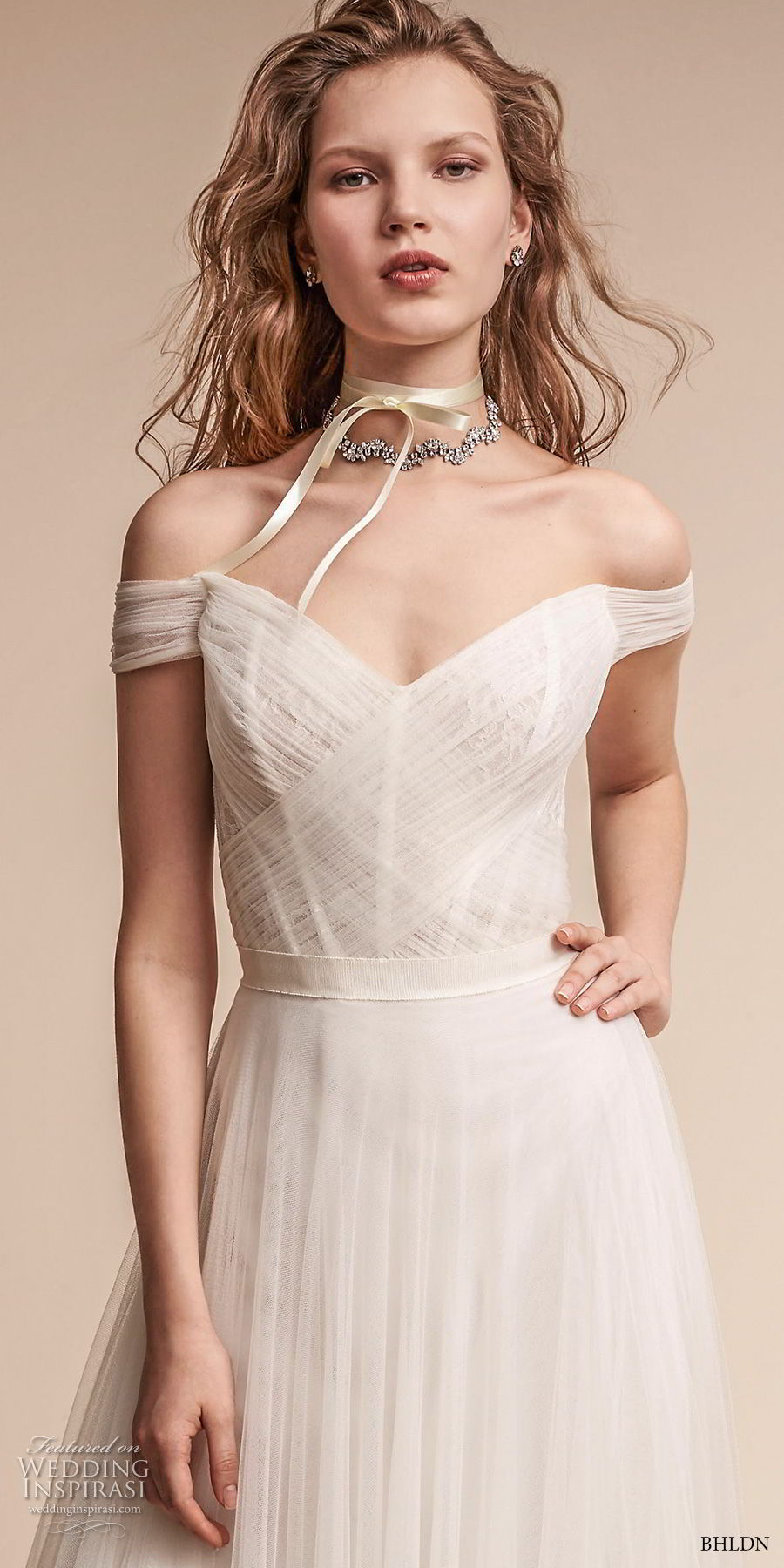 bhldn fall 2017  americana bridal off the shoulder sweetheart neckline ruched bodice tulle skirt romantic soft a  line wedding dress mid v back medium train (heaton) zv