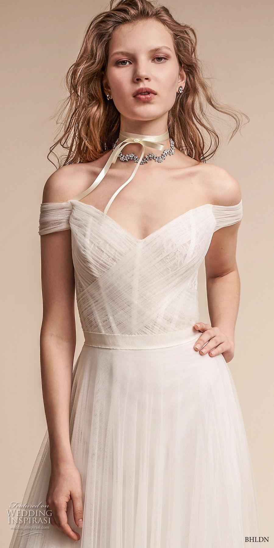 bhldn fall 2017  americana bridal off the shoulder sweetheart neckline ruched bodice tulle skirt romantic soft a  line wedding dress mid v back medium train (heaton) zv
