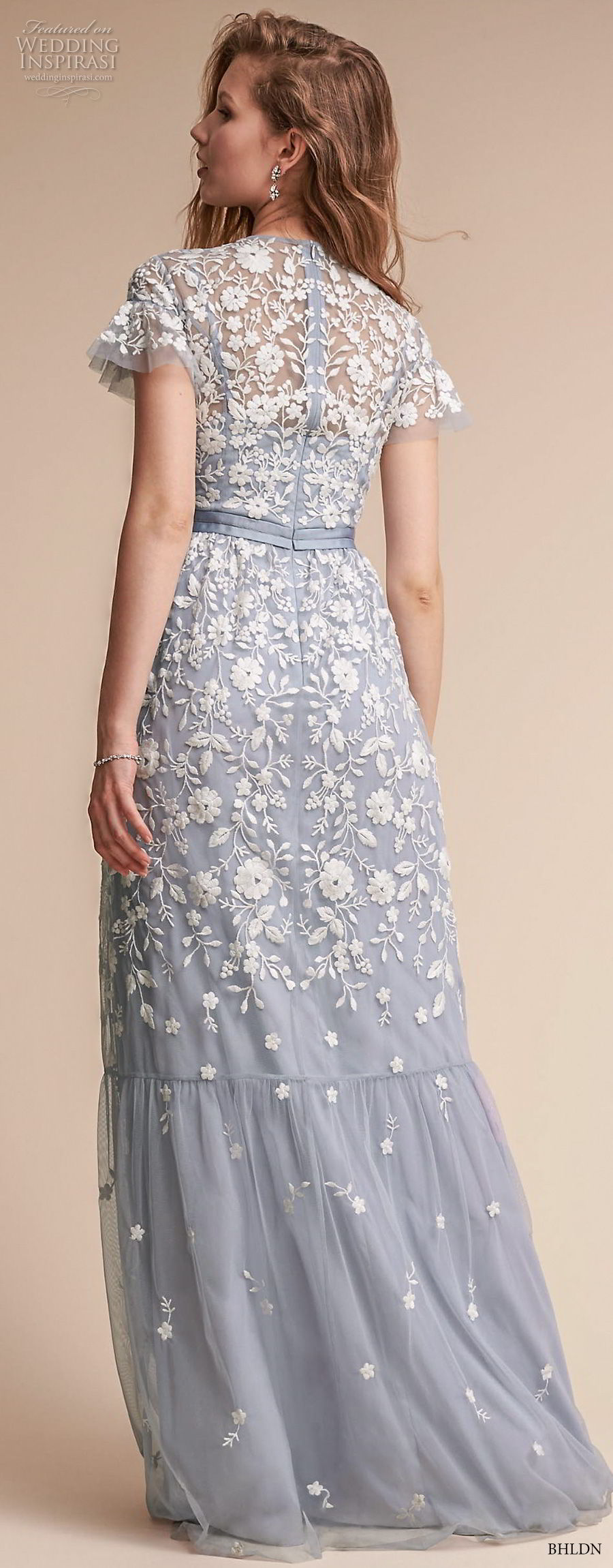 bhldn fall 2017  americana bridal short sleeves jewel neck full embellishment romantic blue color soft a  line wedding dress covered lace back sweep train (meadow) bv