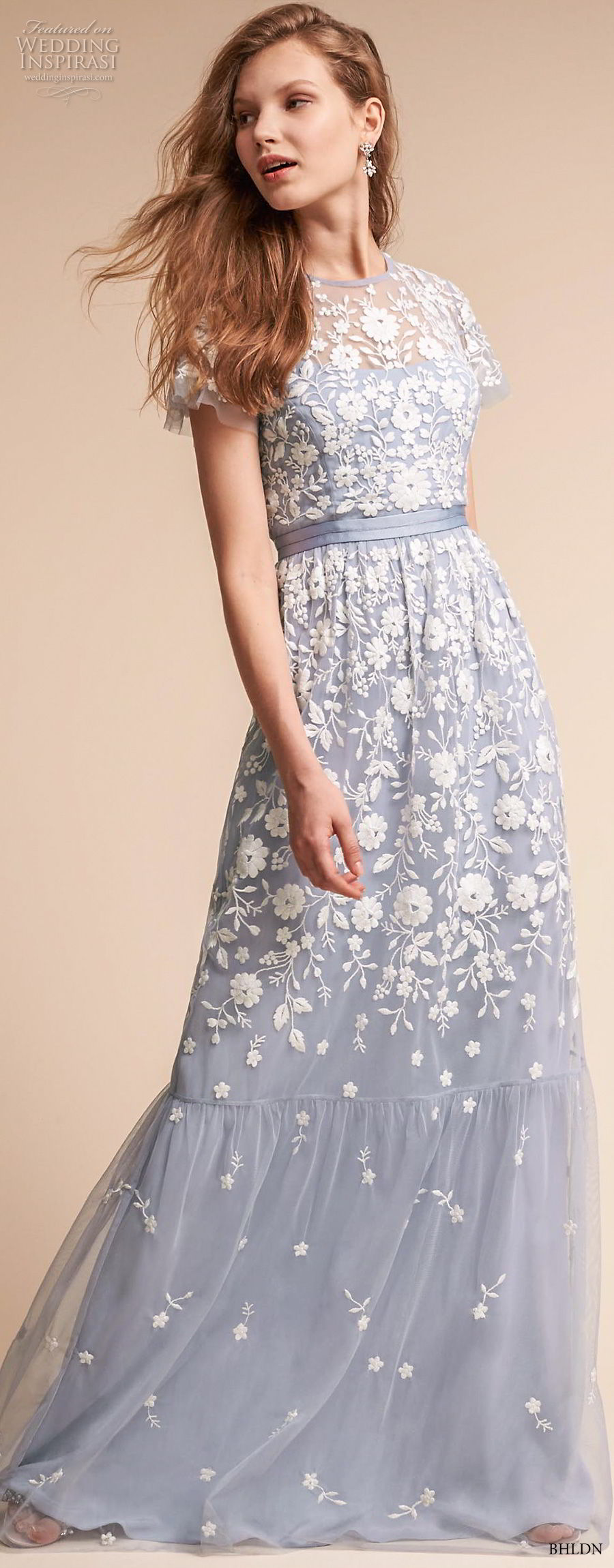 bhldn fall 2017  americana bridal short sleeves jewel neck full embellishment romantic blue color soft a  line wedding dress covered lace back sweep train (meadow) mv