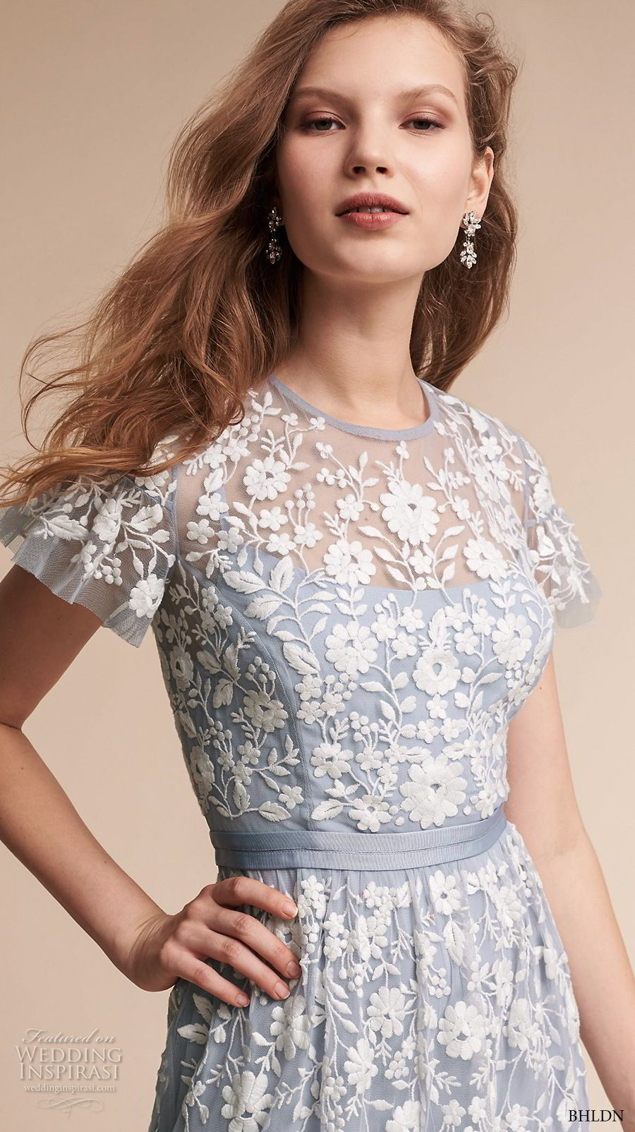bhldn fall 2017  americana bridal short sleeves jewel neck full embellishment romantic blue color soft a  line wedding dress covered lace back sweep train (meadow) zv