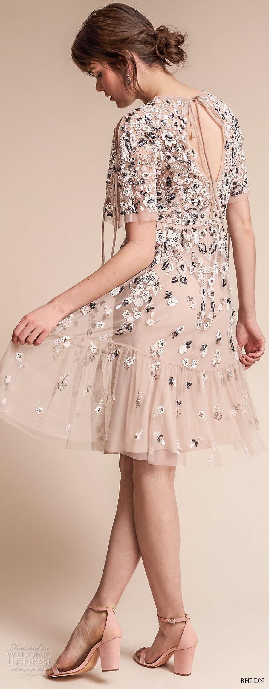 bhldn fall 2017  americana bridal short sleeves jewel neck full embellishment romantic pretty creme color above knee short wedding dress keyhole back (majorca) bv