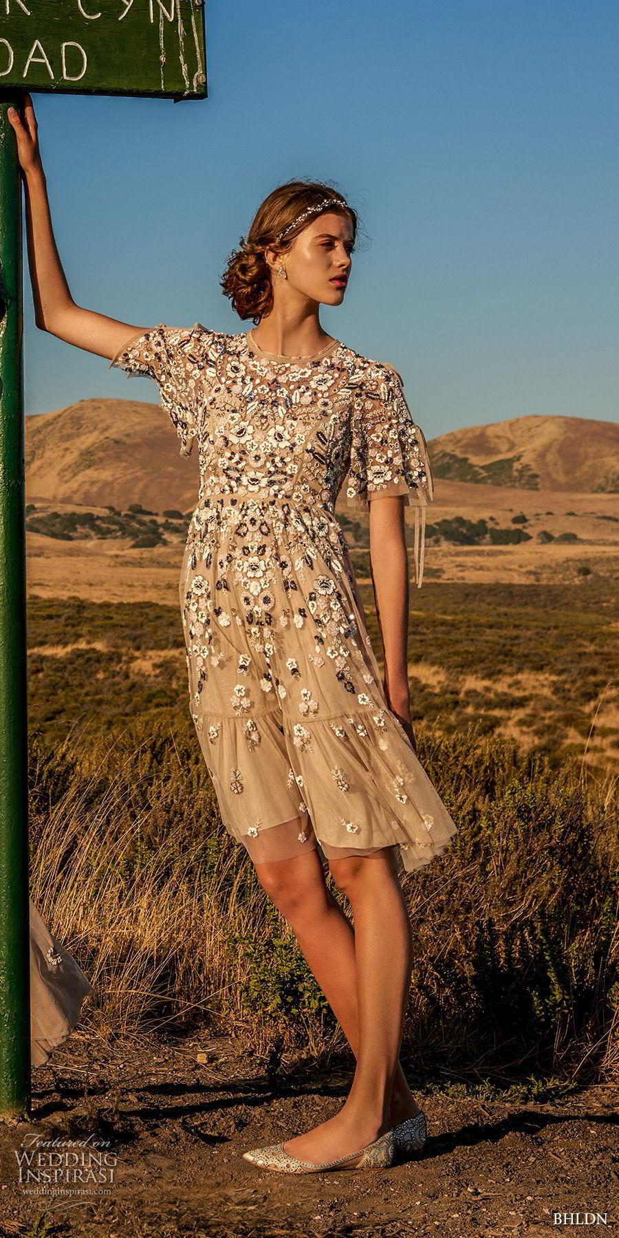 bhldn fall 2017  americana bridal short sleeves jewel neck full embellishment romantic pretty creme color above knee short wedding dress keyhole back (majorca) mv