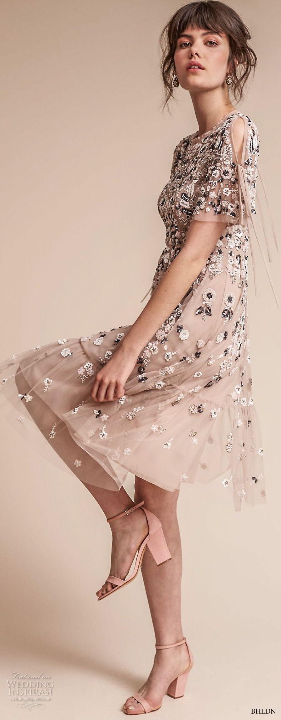 bhldn fall 2017  americana bridal short sleeves jewel neck full embellishment romantic pretty creme color above knee short wedding dress keyhole back (majorca) sdv