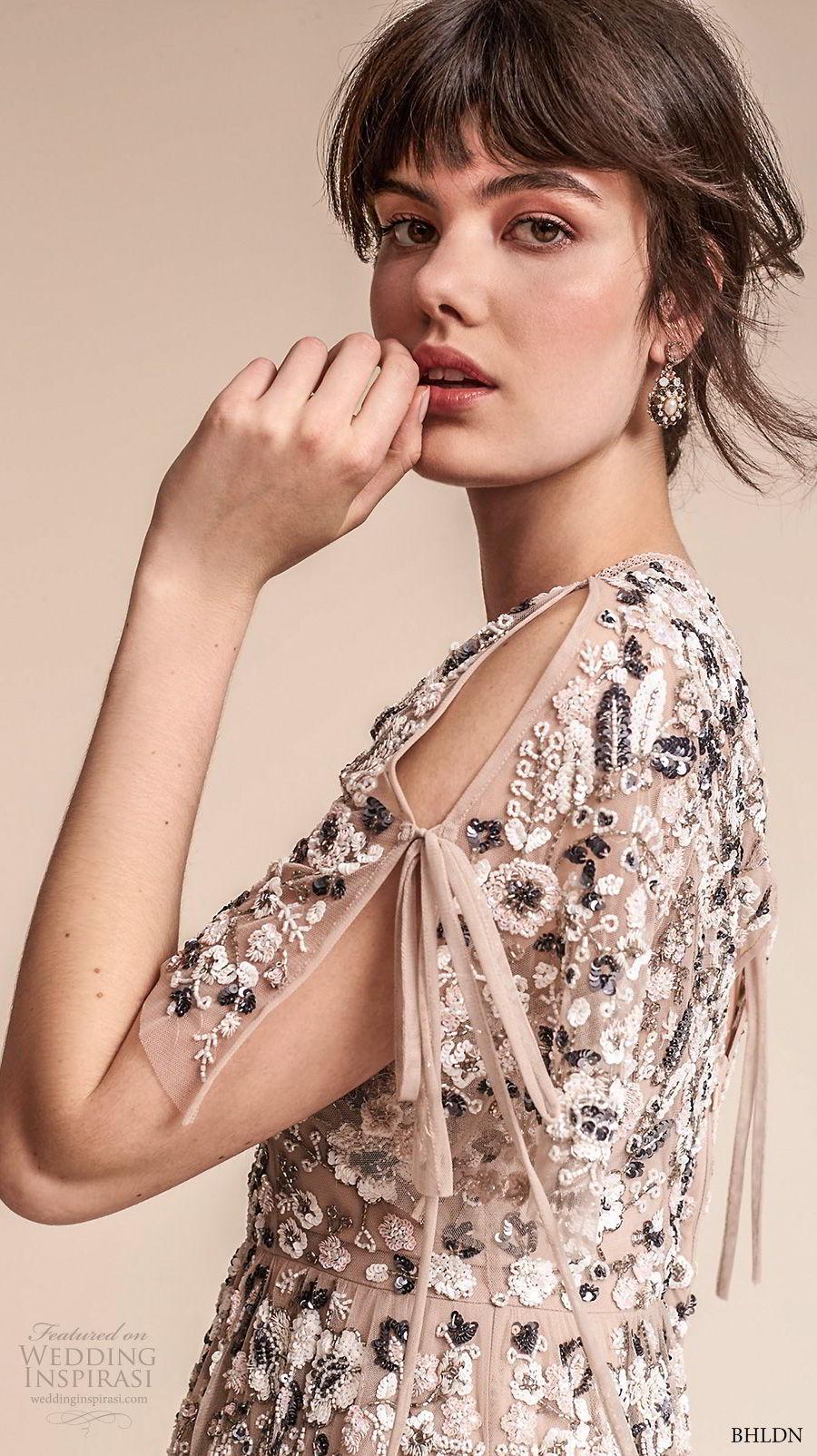 bhldn fall 2017  americana bridal short sleeves jewel neck full embellishment romantic pretty creme color above knee short wedding dress keyhole back (majorca) zsdv