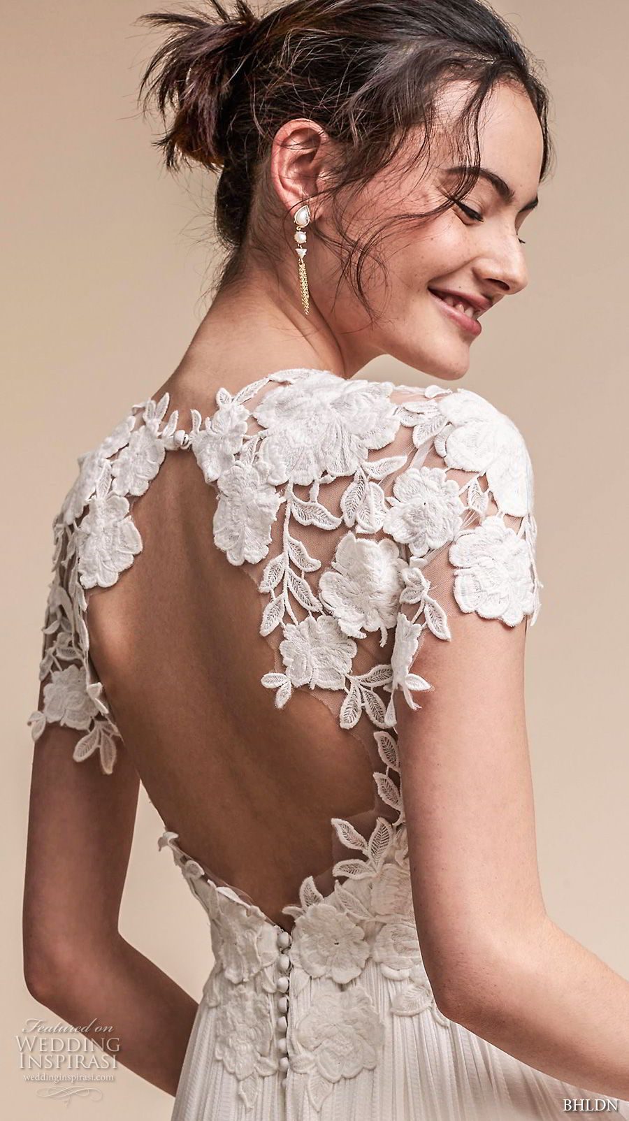 bhldn fall 2017  americana bridal short sleeves jewel neck heavily embellished bodice romantic soft a  line wedding dress keyhole back sweep train (jazelle) zbv