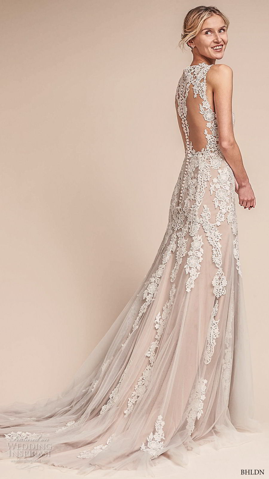 bhldn fall 2017  americana bridal sleeveless embroidered strap heavily embellished bodice elegant romantic sheath a  line wedding dress lace back short train (monarch) bv