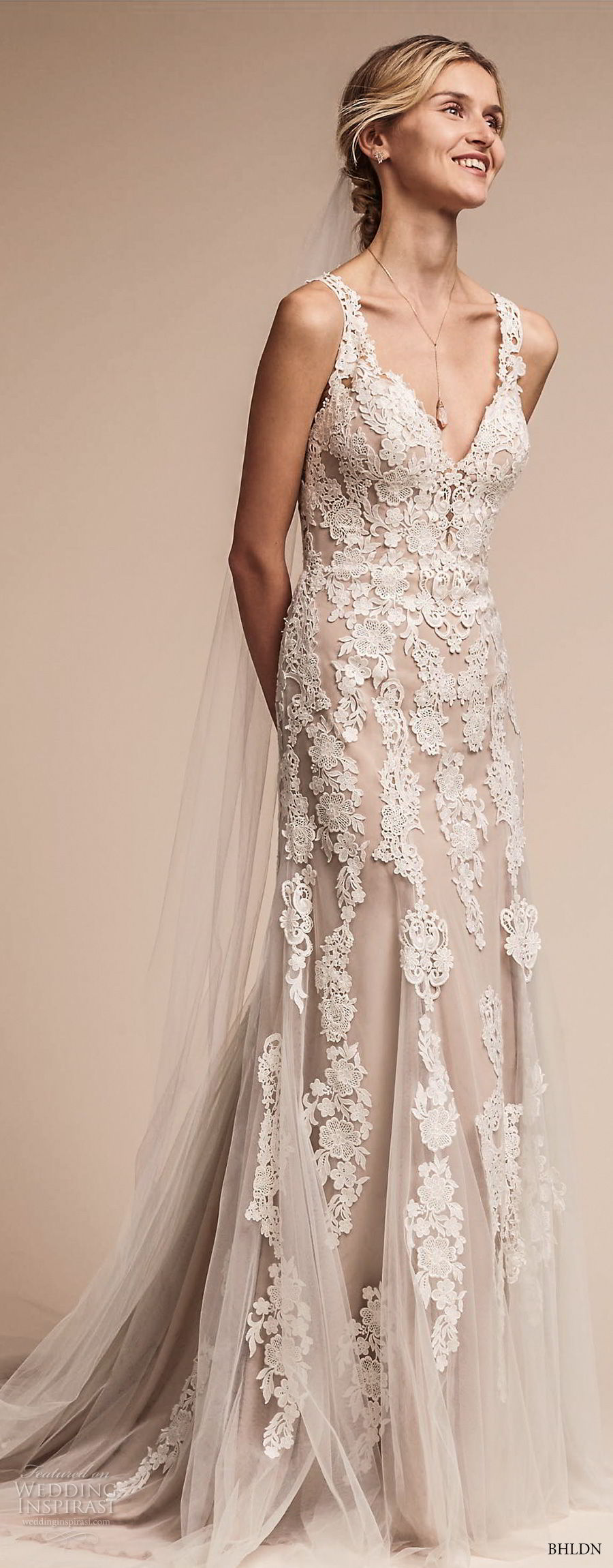 bhldn fall 2017  americana bridal sleeveless embroidered strap heavily embellished bodice elegant romantic sheath a  line wedding dress lace back short train (monarch) fv
