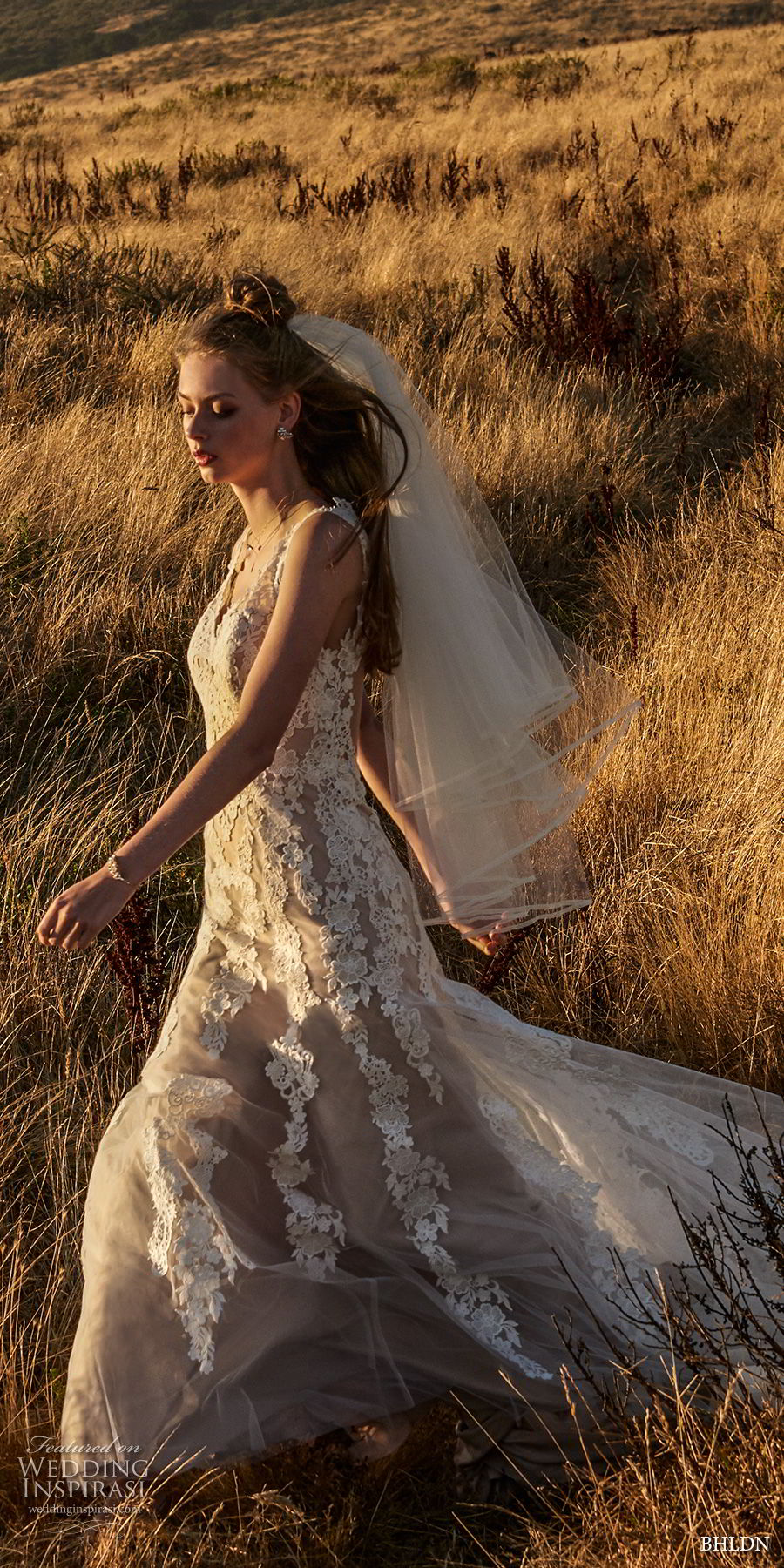bhldn fall 2017  americana bridal sleeveless embroidered strap heavily embellished bodice elegant romantic sheath a  line wedding dress lace back short train (monarch) mv