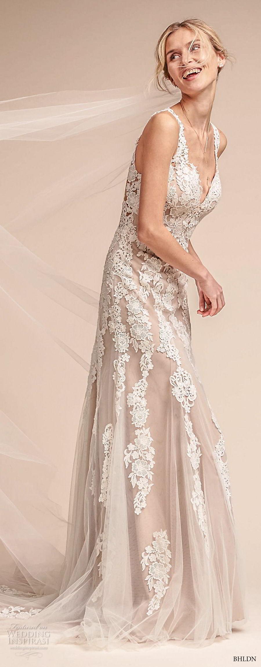bhldn fall 2017  americana bridal sleeveless embroidered strap heavily embellished bodice elegant romantic sheath a  line wedding dress lace back short train (monarch) sdv