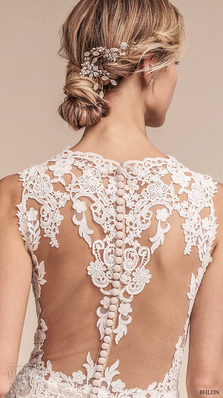 bhldn fall 2017  americana bridal sleeveless embroidered strap heavily embellished bodice elegant romantic sheath a  line wedding dress lace back short train (monarch) zbv