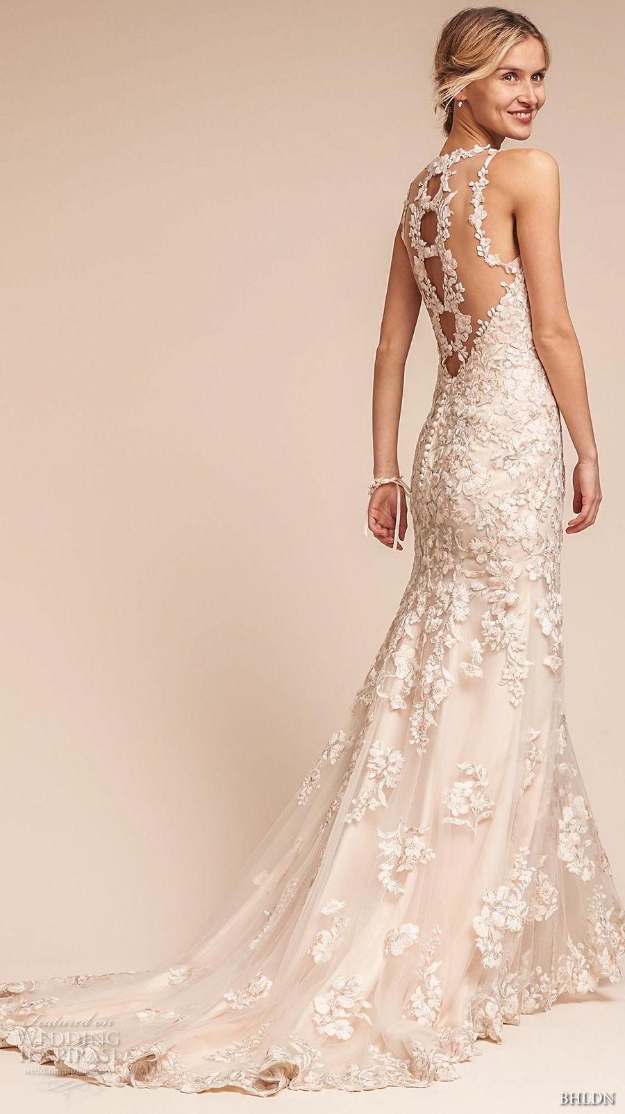 bhldn fall 2017  americana bridal sleeveless illusion jewel neck full embellishment elegant fit and flare wedding dress sheer lace back sweep train (nouveau) bv