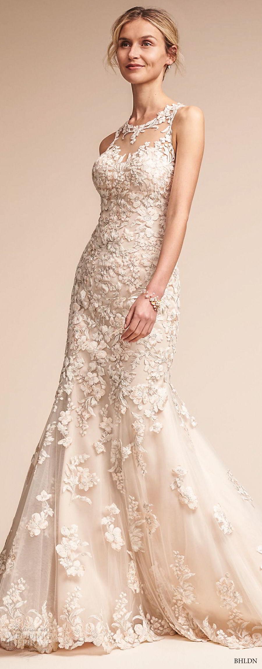 bhldn fall 2017  americana bridal sleeveless illusion jewel neck full embellishment elegant fit and flare wedding dress sheer lace back sweep train (nouveau) mv