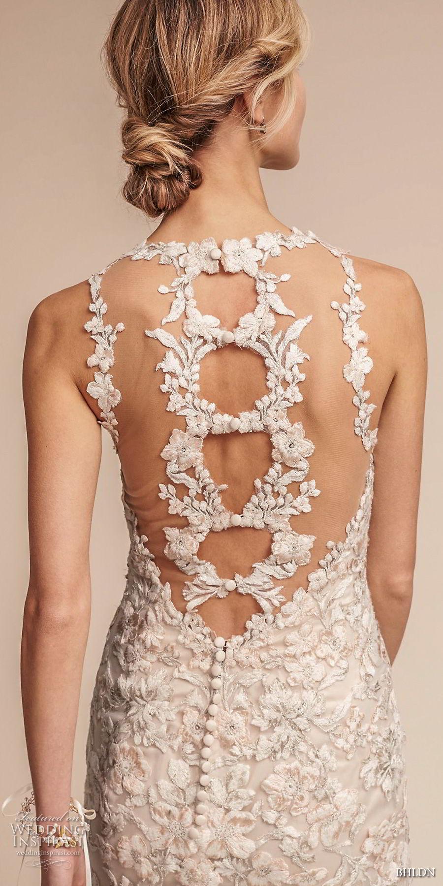 bhldn fall 2017  americana bridal sleeveless illusion jewel neck full embellishment elegant fit and flare wedding dress sheer lace back sweep train (nouveau) zbv