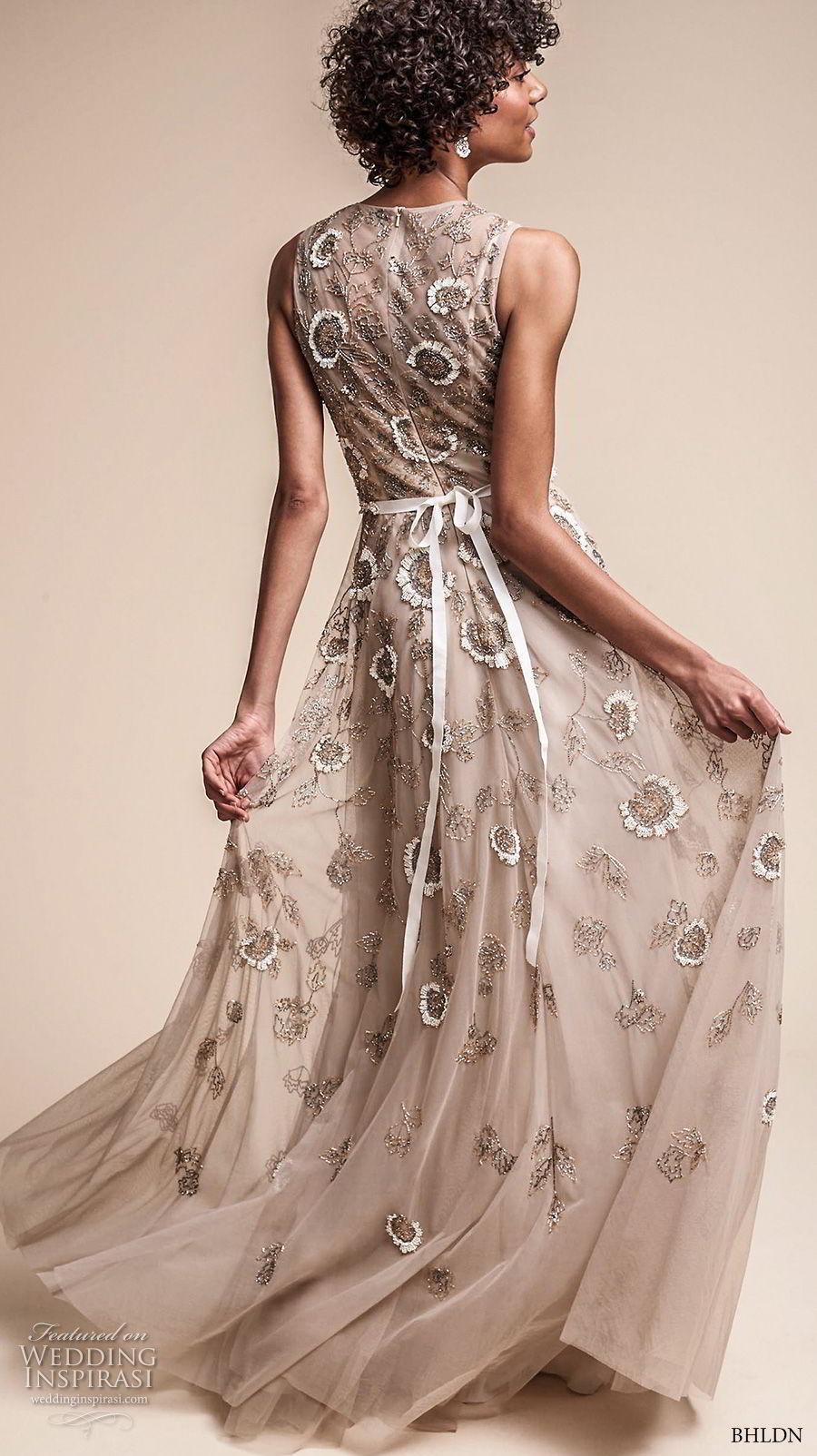bhldn fall 2017  americana bridal sleeveless jewel neckline full embellishment romantic modern champagne color soft a  line wedding dress covered back sweep train (verdure) bv