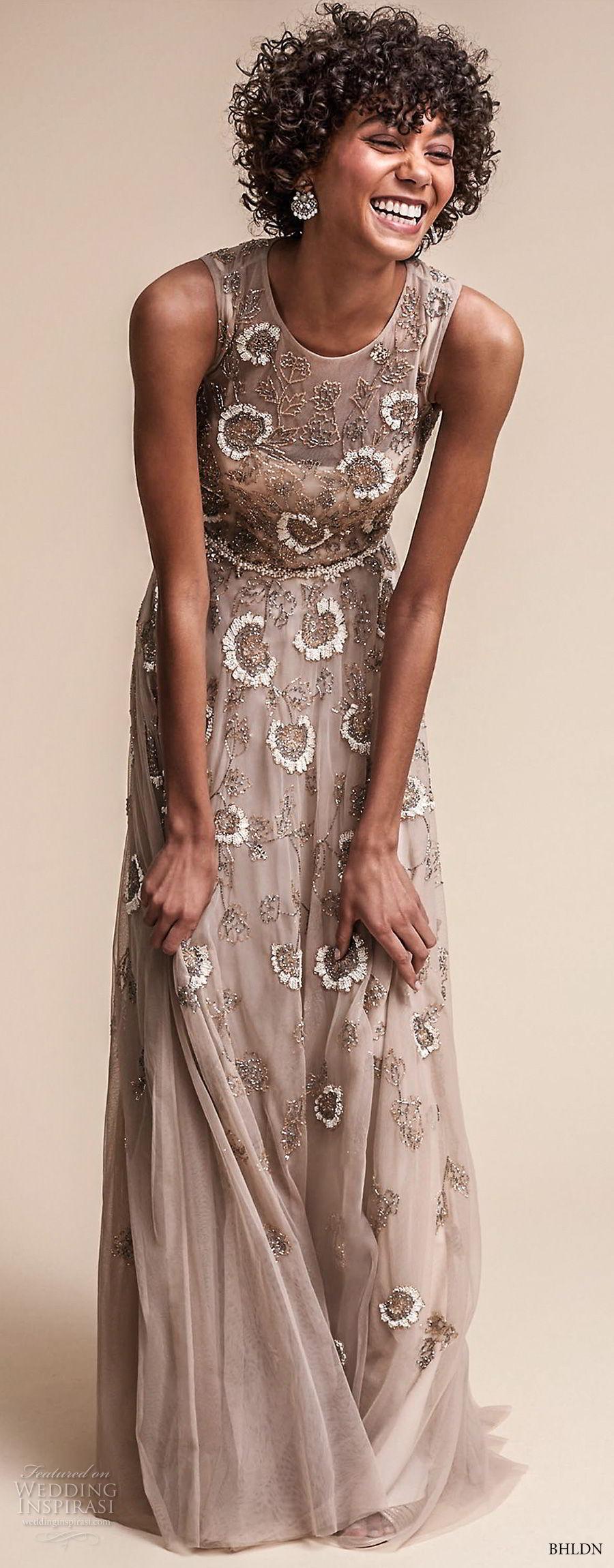 bhldn fall 2017  americana bridal sleeveless jewel neckline full embellishment romantic modern champagne color soft a  line wedding dress covered back sweep train (verdure) lv