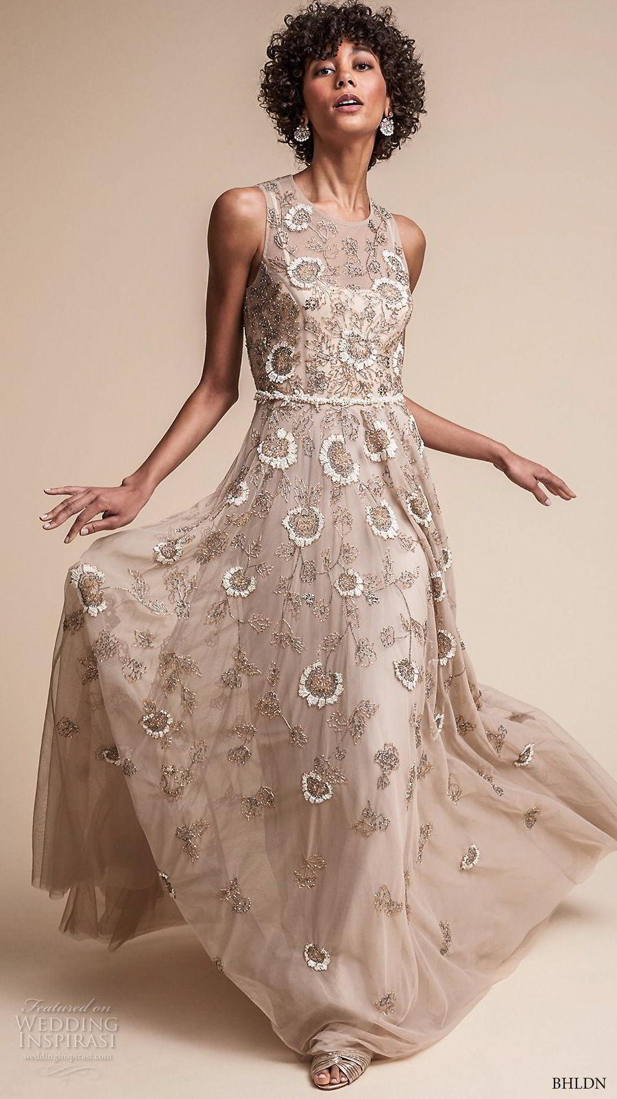 bhldn fall 2017  americana bridal sleeveless jewel neckline full embellishment romantic modern champagne color soft a  line wedding dress covered back sweep train (verdure) mv