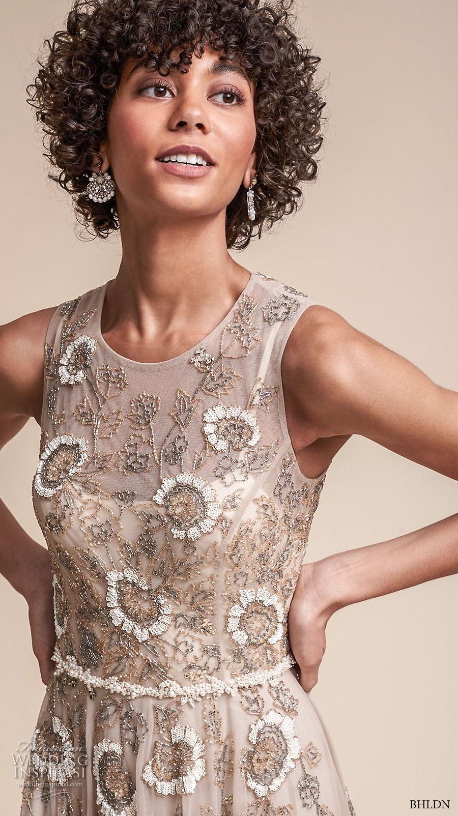 bhldn fall 2017  americana bridal sleeveless jewel neckline full embellishment romantic modern champagne color soft a  line wedding dress covered back sweep train (verdure) zv