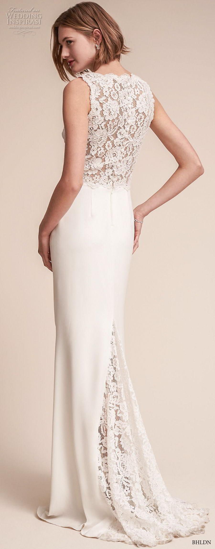 bhldn fall 2017  americana bridal sleeveless thick strap v neck heavily embellished bodice elegant sheath wedding dress covered lace back sweep train (andora) bv