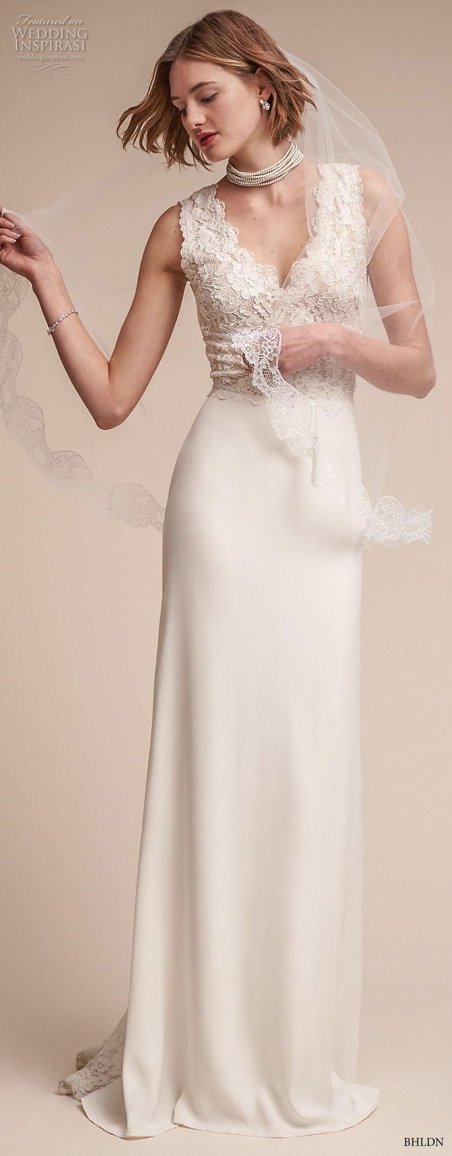 bhldn fall 2017  americana bridal sleeveless thick strap v neck heavily embellished bodice elegant sheath wedding dress covered lace back sweep train (andora) mv