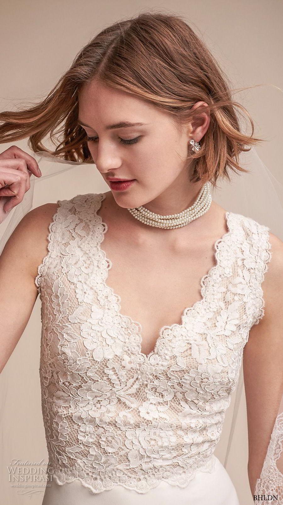 bhldn fall 2017  americana bridal sleeveless thick strap v neck heavily embellished bodice elegant sheath wedding dress covered lace back sweep train (andora) zv