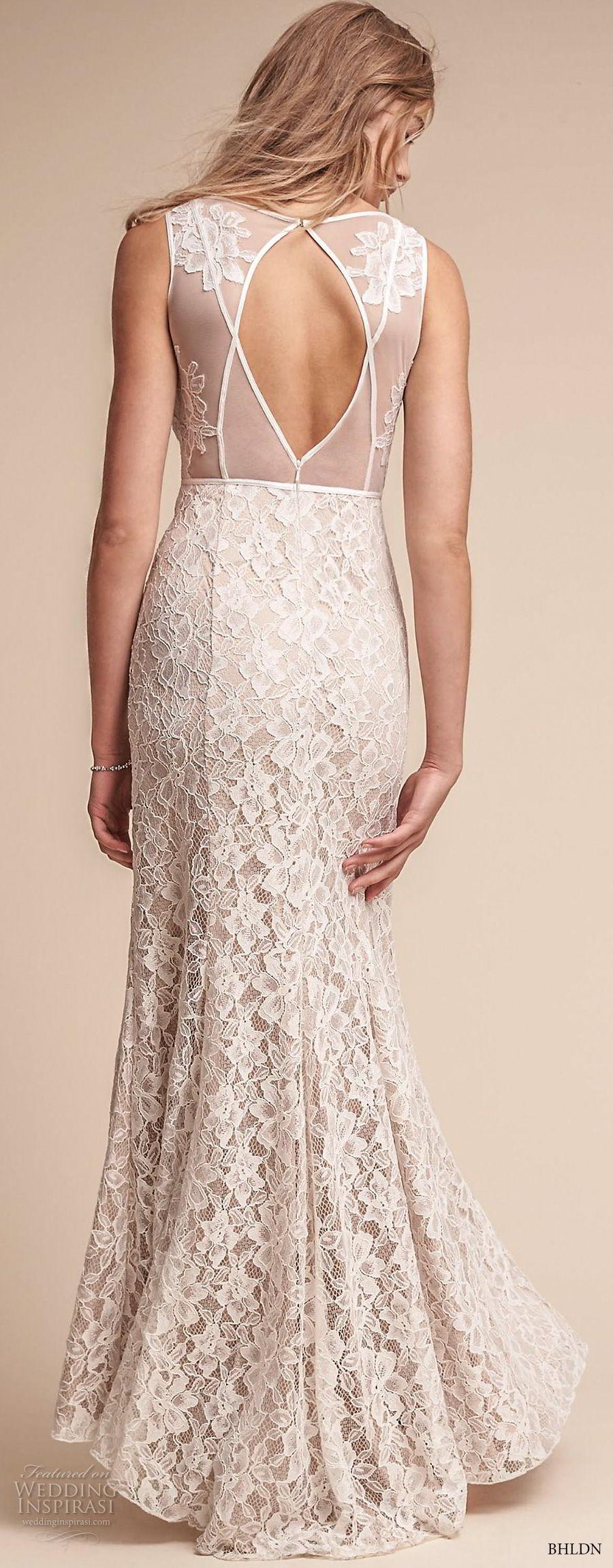 bhldn fall 2017  americana bridal sleeveless v neck full embellishment elegant sheath wedding dress keyhole back (essence) bv