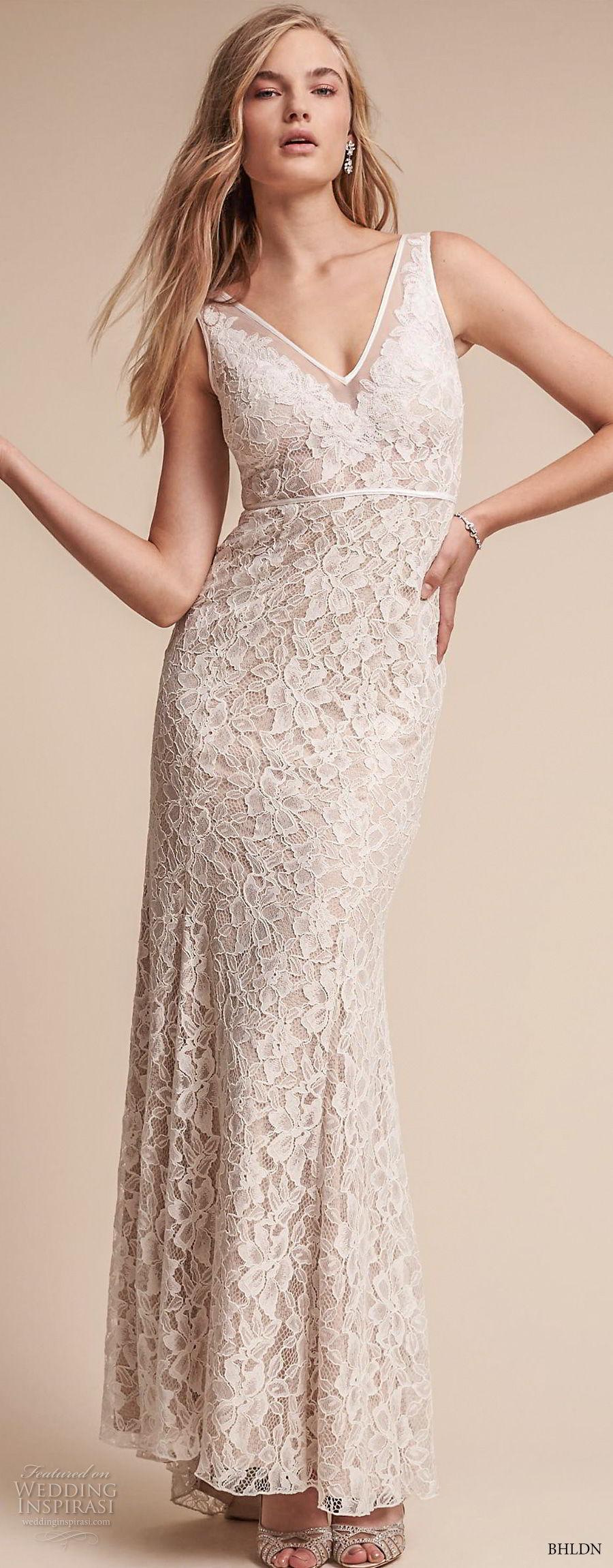 bhldn fall 2017  americana bridal sleeveless v neck full embellishment elegant sheath wedding dress keyhole back (essence) mv lv
