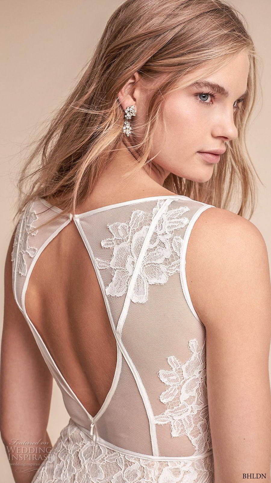 bhldn fall 2017  americana bridal sleeveless v neck full embellishment elegant sheath wedding dress keyhole back (essence) zbv
