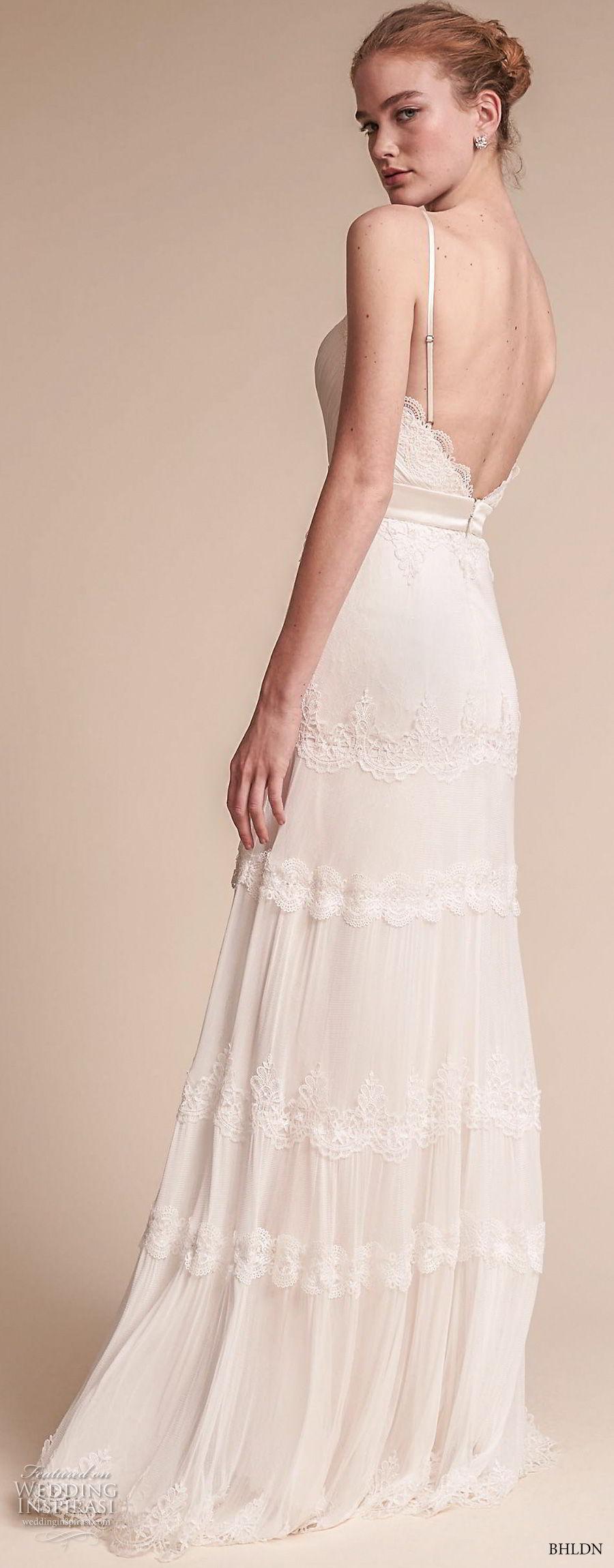 bhldn fall 2017  americana bridal spaghetti strap deep v neck light embellishment romantic bohemian soft a  line wedding dress open v back sweep train (jayme) bv