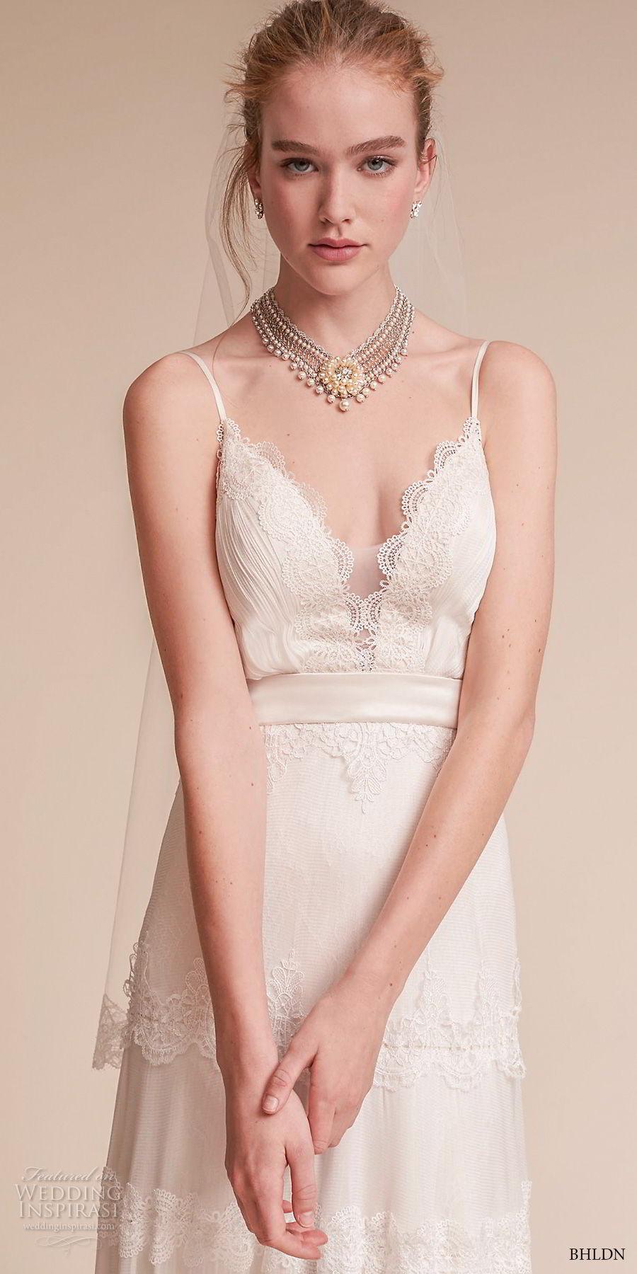 bhldn fall 2017  americana bridal spaghetti strap deep v neck light embellishment romantic bohemian soft a  line wedding dress open v back sweep train (jayme) zv