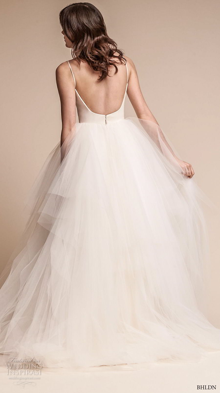bhldn fall 2017  americana bridal spaghetti strap sweetheart neckline simple bodice tulle skirt romantic ball gown wedding dress open scoop back sweep train (astoria) bv