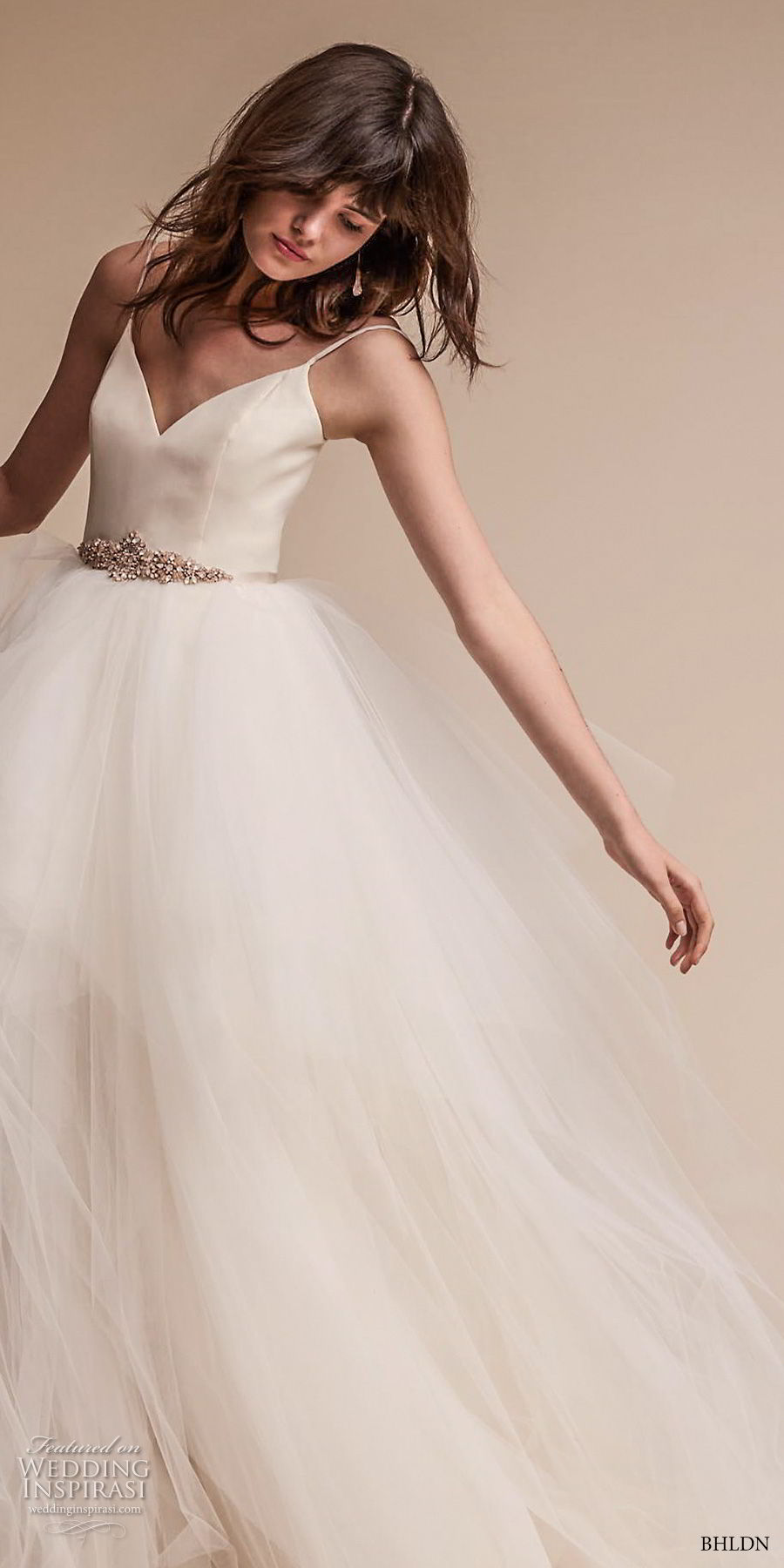 bhldn fall 2017  americana bridal spaghetti strap sweetheart neckline simple bodice tulle skirt romantic ball gown wedding dress open scoop back sweep train (astoria) mv