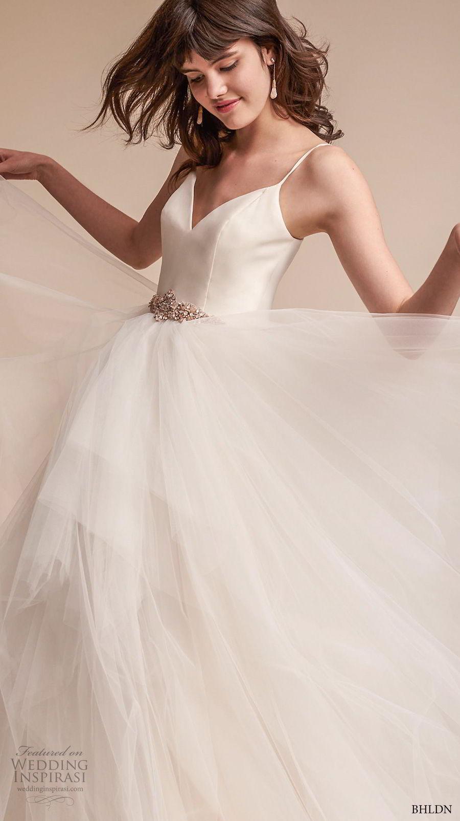 bhldn fall 2017  americana bridal spaghetti strap sweetheart neckline simple bodice tulle skirt romantic ball gown wedding dress open scoop back sweep train (astoria) mv