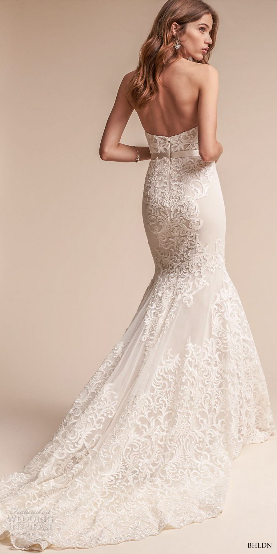 bhldn fall 2017  americana bridal strapless sweetheart neckline full embellishment elegant trumpet mermaid wedding dress chapel train (alice) bv